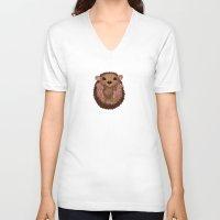 hedgehog V-neck T-shirts featuring Hedgehog by Lilybet
