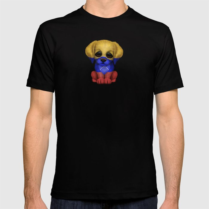 Cute Puppy Dog with flag of Venezuela T-shirt