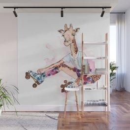 Roller Skating Giraffe Watercolor Wall Mural