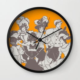Vintage Ladies APRICOT / Vintage illustration redrawn and repurposed Wall Clock