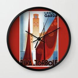 Art deco vintage Italian travel Riva Torbole Lake Garda Wall Clock