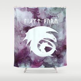Vintage Dragon Watercolor Silhouette Shower Curtain