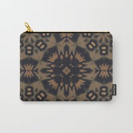 Wild Oats // Rustic Bohemian Gypsy Geometric Tribal Pattern Abstract Design Earthy Brown Black Carry-All Pouch