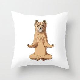 Meditate Cairn Terrier Dog Throw Pillow