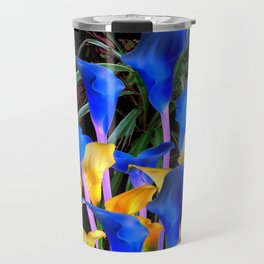 BLUE-BLACK MODERN ABSTRACT BLUE & GOLD CALLA LILIES Travel Mug