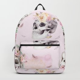 Floral Skull Pattern Backpack