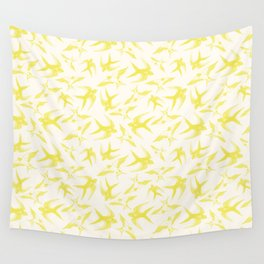 Swooping Swallows in Yellow Wall Tapestry