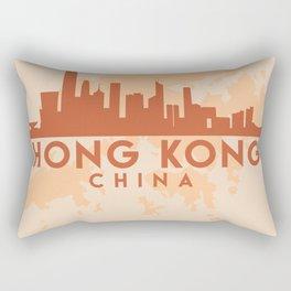 HONG KONG CITY MAP SKYLINE EARTH TONES Rectangular Pillow
