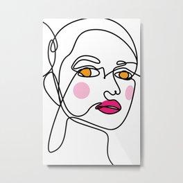 Line female face art Metal Print