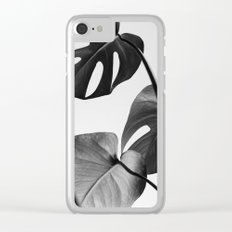 Black & white Monstera Clear iPhone Case