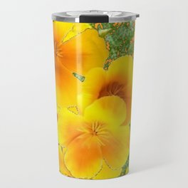 GOLDEN YELLOW CALIFORNIA POPPY WILD FLOWER PATTERNS Travel Mug