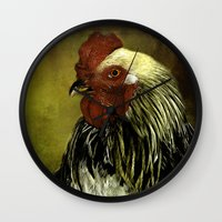rooster Wall Clocks featuring Rooster by LudaNayvelt