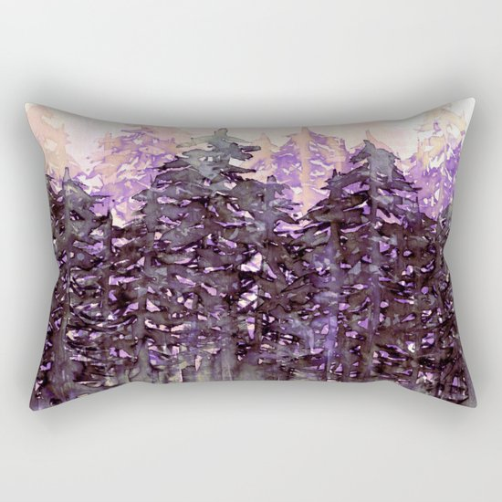 NORTHWEST VIBES Colorful Watercolor Painting Forest Trees Violet Green Modern Nature Art West Coast  Rectangular Pillow