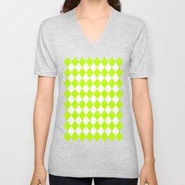 Rhombus (Lime/White) Unisex V-Neck