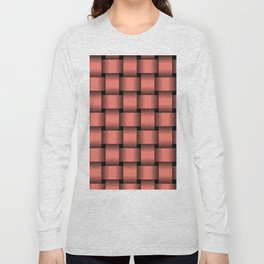 Large Salmon Pink Weave Long Sleeve T-shirt