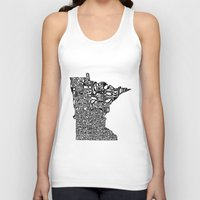 minnesota Tank Tops featuring Typographic Minnesota by CAPow!
