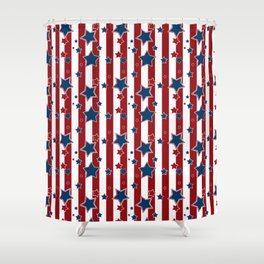 Blue Stars Red Striped Shower Curtain