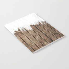 White Abstract Paint on Brown Rustic Striped Wood Notebook