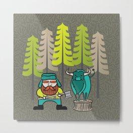 Lumberjack & Blue Ox Metal Print