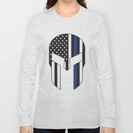 Gladiator Helmet American Flag Thin Blue Line Long Sleeve T-shirt