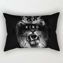 Lion, Lionart, King, Animal, Black, Minimal, Interior, Black White,Wall art, Art Print,Trendy decor Rectangular Pillow