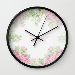 Thank you quote & Rose flowers Wall Clock