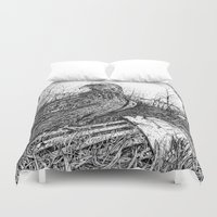 hawk Duvet Covers featuring Backyard Hawk by miranda mcguire