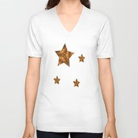 glee V-neck T-shirts featuring Christmas Goes Gold by Louisa Catharine Art And Patterns