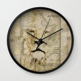 Lion Vintage Africa old Map illustration Wall Clock