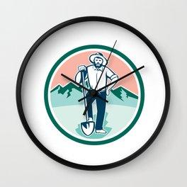 Gold Miner With Shovel Circle Retro Wall Clock