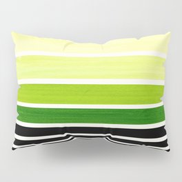 Sap Green Minimalist Mid Century Staggered Stripes Rothko Color Block Geometric Art Pillow Sham