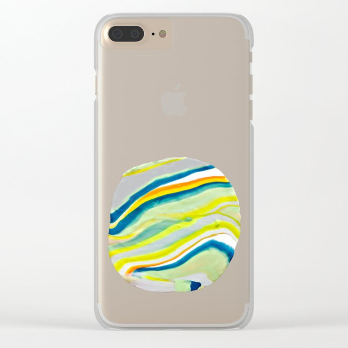 Earth Lines Marbling, Unite Clear iPhone Case