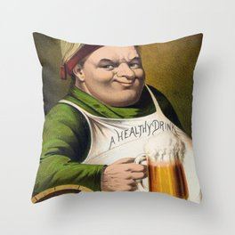 Vintage Lager Beer Advertisement Throw Pillow