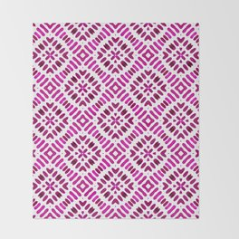 Shibori Watercolour no.7 Magenta Throw Blanket