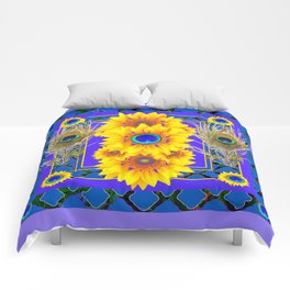 LILAC-BLUE PEACOCK JEWELED SUNFLOWERS Comforters