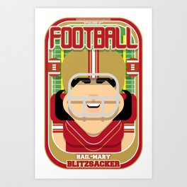 American Football Red and Gold -  Hail-Mary Blitzsacker - Amy version Art Print