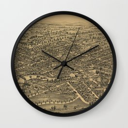 Vintage Pictorial Map of Plattsburgh NY (1899) Wall Clock