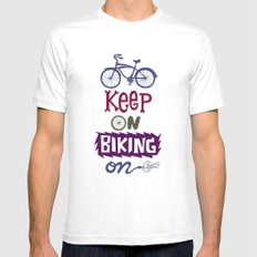 Keep On Riding On  White MEDIUM Mens Fitted Tee