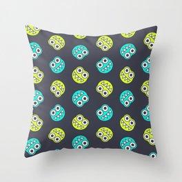 Blue Green Cute Bugs Pattern Throw Pillow