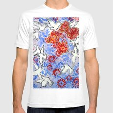 Floral Doves MEDIUM White Mens Fitted Tee