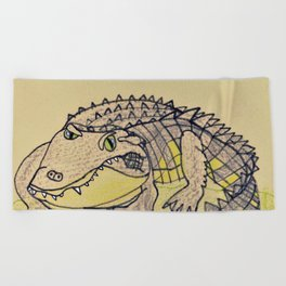 Grumpy Gator Beach Towel