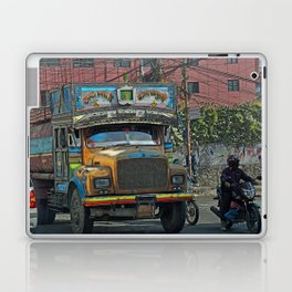 STREET SCENE IN KATHMANDU TRUCK AND MOTOR BIKE Laptop & iPad Skin