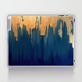 Gold Leaf & Blue Abstract Laptop & iPad Skin