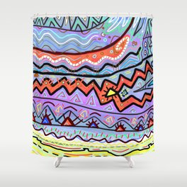Summer Camp Tribal Colorful Geometric Drawing Shower Curtain