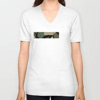 camo V-neck T-shirts featuring Woodland Camo by Derek Boman