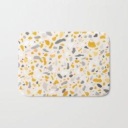 Terrazzo memphis vintage mustard yellow white grey black Bath Mat