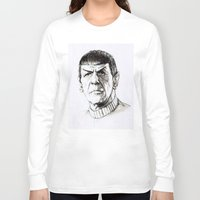 spock Long Sleeve T-shirts featuring Spock by Sara (aka Wisney)