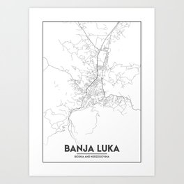 Minimal City Maps - Map Of Banja Luka, Bosnia And Herzegovina. Art Print