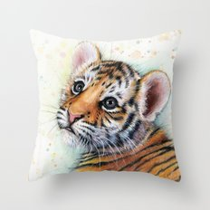 Tiger Cub Watercolor Cute Baby Animals Throw Pillow