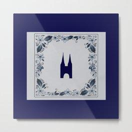 Delft blue tile Eastern Gate in Delft Metal Print